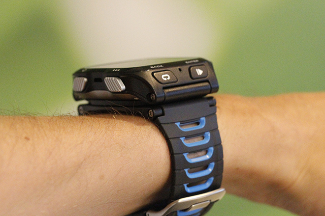 A 920XT with quick release on my wrist.