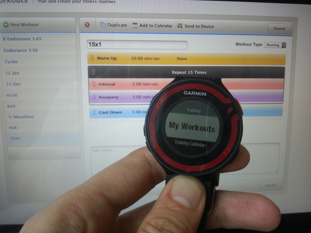 The workouts you planned online for the Forerunner 220