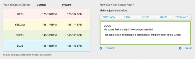 Adjusting the HR zones in miCoach