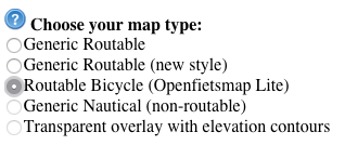 Set Downloadable maps to bike routes