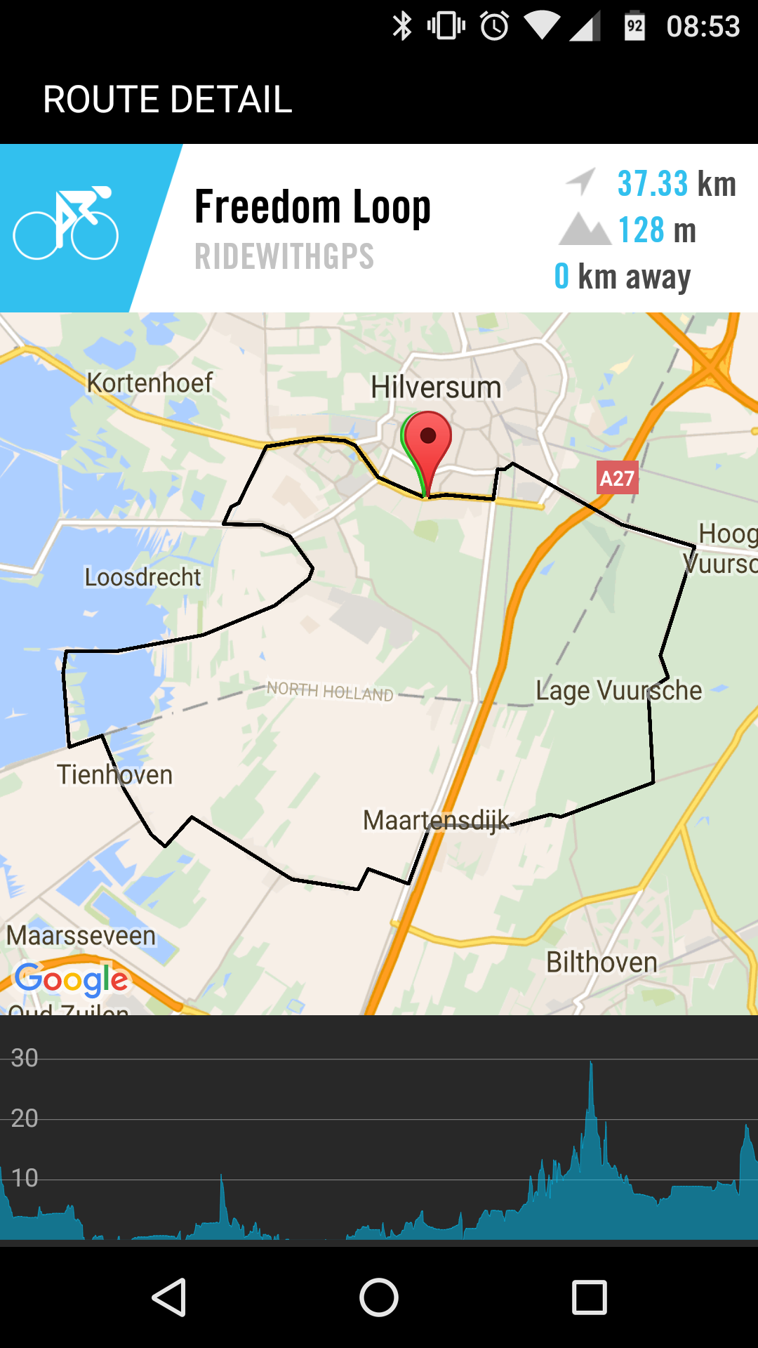 Ride with GPS Route on ELEMNT