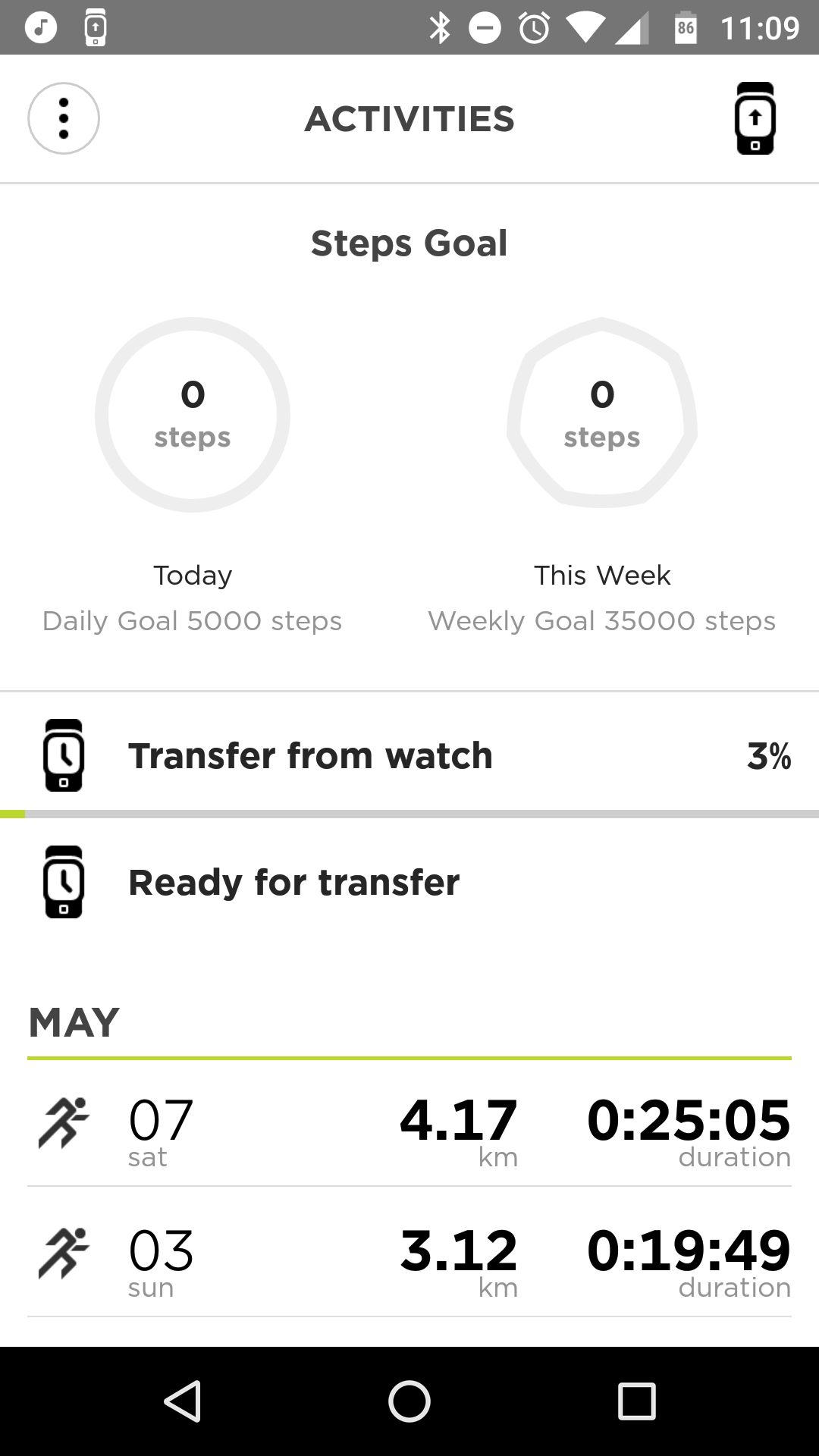 Transferring a workout from your watch