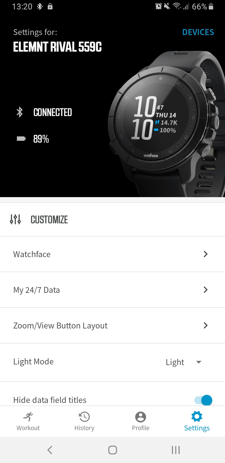 Wahoo App RIVAL setup