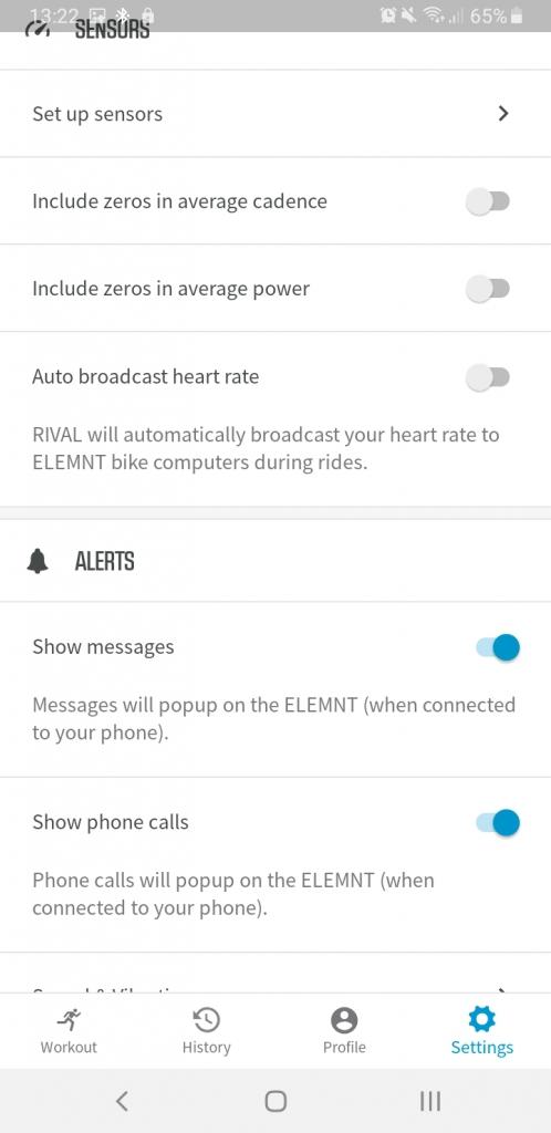 Wahoo RIVAL Sensors and alerts