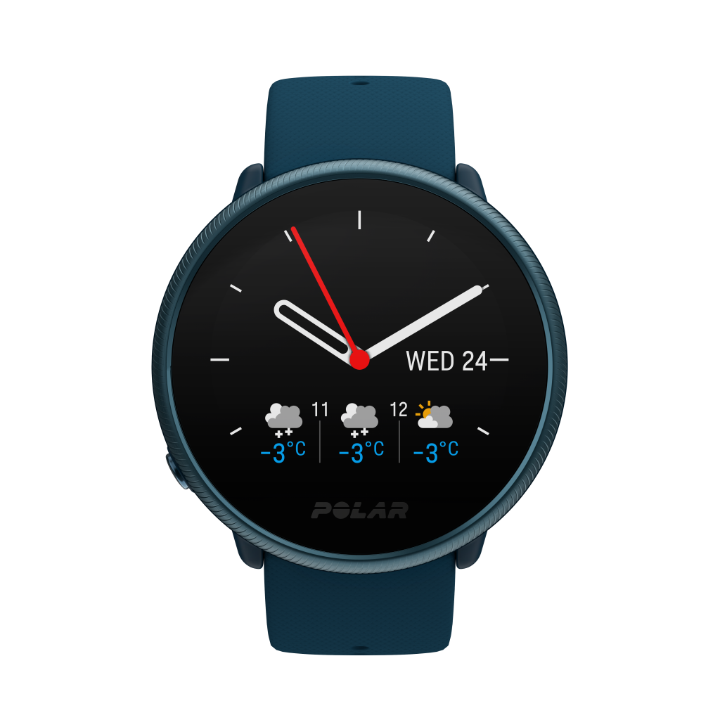 Polar Ignite 2 Weather forecast watch face.