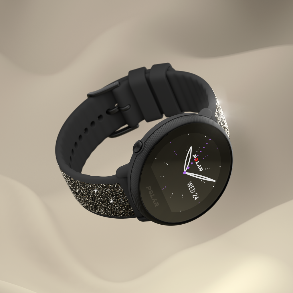 Black edition Polar Ignite 2 embellished with Swarovski crystals.